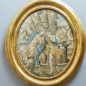 Jesus and the Samaritan needle painting/embroidery in 19th century frame. - Rugs and Textiles