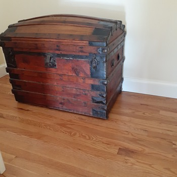 Labelled J.J. Keefe's Trunks, 107 and 109 Haverhill St., Near Boston and Main Dept.   Rounded top. - Furniture