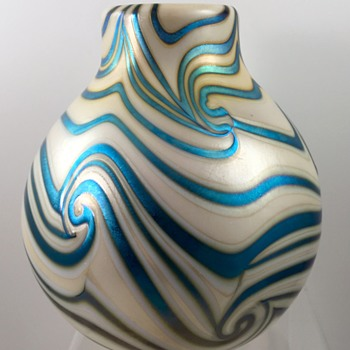 Early Charles Lotton opal glass vase with blue luster King Tut decoration, 1972