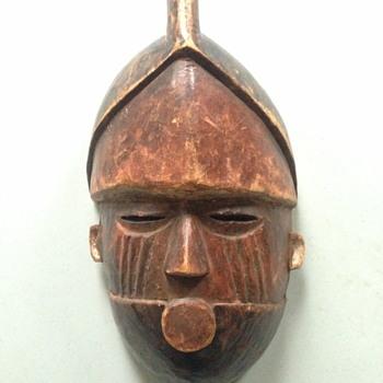 """Antique Tribal Mask? Cool find at church fair 11"""" x 6"""" - Fine Art"""