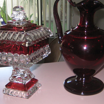 Cranberry covered dish and pitcher - Glassware