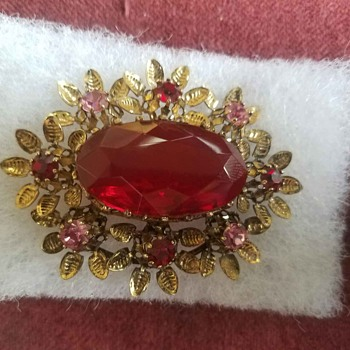 VINTAGE Austrian with Red Glass and Pink Rhinestones oval Brooch