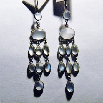 Antique Victorian Ceylon Moonstone Pendant Silver Earrings - Fine Jewelry