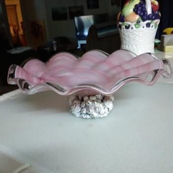 Pink swirl pedestal glass dish - Glassware