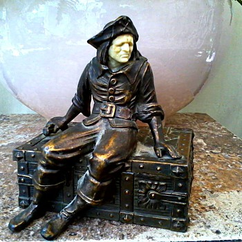 """Pirate On a Treasure Chest"" Bookend with Cedar Lined Box /Cold Painted Spelter with Ivorine Face/J.B.Hirsch Foundry/Circa 1932 - Books"