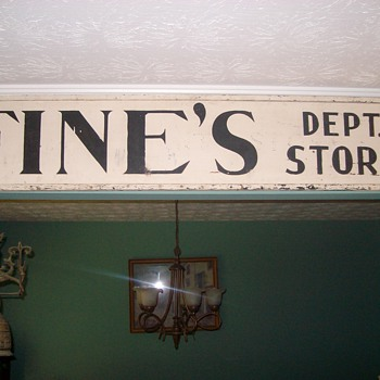 "Old Wooden ""Fines Dept Store"" Sign - Signs"