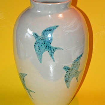 Ceramic Vase w/ Blue Doves - Pottery