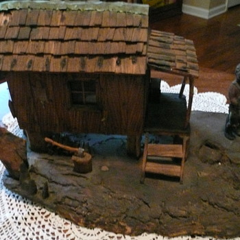 Carved cabin scene - Folk Art