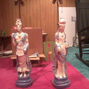 40's 50's Chinese king and queen 3 ft table lamps
