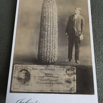 Cabinet Card Man Corn 100 Dollar Bill Doctered Photo - Photographs