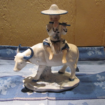 Water Buffalo Blue White with Sitting Boy Playing  a Flute - Asian
