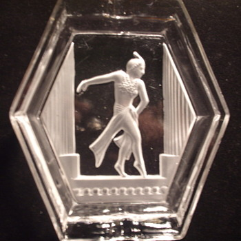 Unusual Satin Intaglio Depiction of Dancer in Ashtray- Bohemian/German? - Art Glass