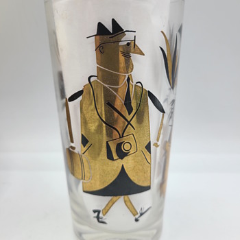 MCM Black and Gold Tumblers With Cartoonish Design - Mid-Century Modern