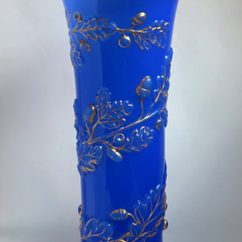 Baccarat Molded Opaline vase in an Unusual Decor - Art Glass