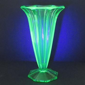Uranium Glass Vase, Octagonal Trumpet Shape - Glassware