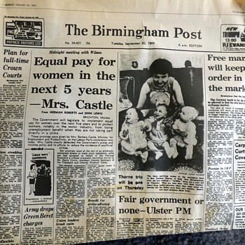 1969-british newspapers-equal pay act/snow chaos-birmingham post. - Paper