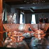 Pink depression glass custard bowls