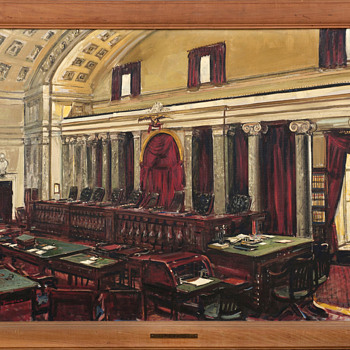 """Interior of the U.S. Supreme Court"",  PWAP Painting by Edwin Dorsey Doniphan, Depression Era - Fine Art"