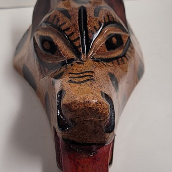 Wood Carved Fox Head - Folk Art