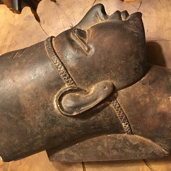 Antique / Vintage Egyptian stone head of Akhenaten? - Advertising