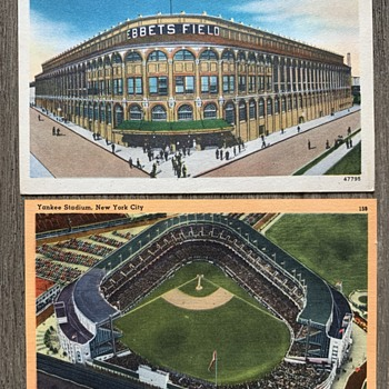 Brooklyn Dodgers Ebbets Field and New York Yankees Polo Grounds Postcards  - Baseball