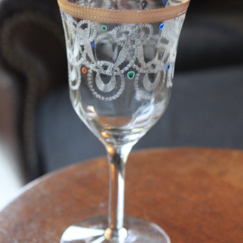 Antique ? Vintage Panelled Etched Gold Rim Glass - Glassware