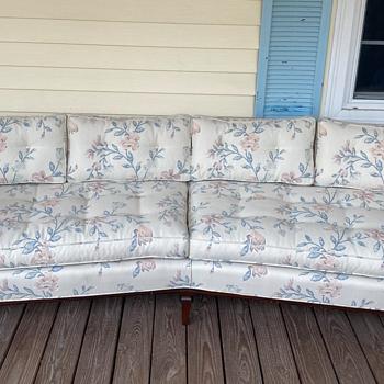Help me identify - vintage mcm(?) angled floral wood frame sofa - Furniture