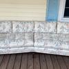 Help me identify - vintage mcm(?) angled floral wood frame sofa