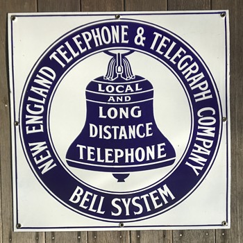 "NOS 1908 N.E.T.&T. 18"" flat sign - Telephones"