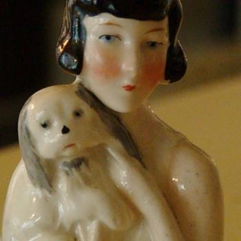 Flapper Half Doll Holding a Spaniel Dog