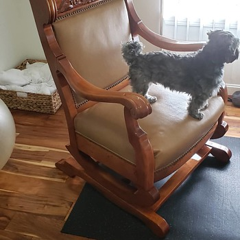 Old pedestal rocker. Found no info. Now it is a family heirloom! - Furniture
