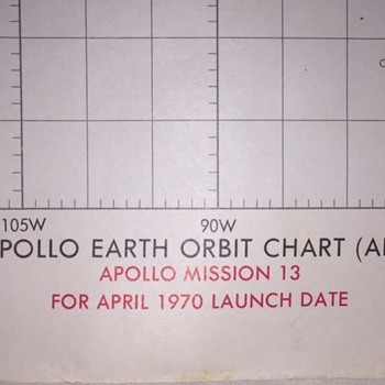 1st Edition April 1970 Nasa Apollo 13 Earth Orbit Chart  - Military and Wartime