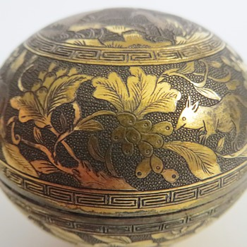 Chinese, JAPANESE? Finely Worked Brass Box~Cranes on top~Rats?, Mice? w/Flowers around - Asian