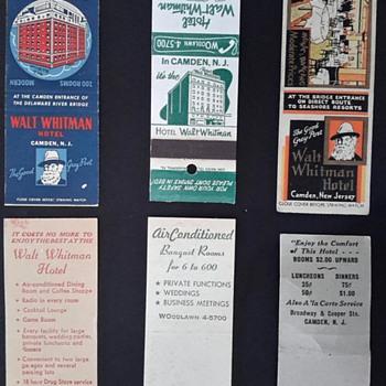 walt whitman matchcover Walt Whitman Hotel Camden NJ