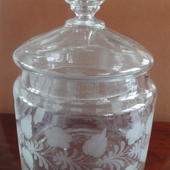 Antique Etched Glass Biscuit Jar - Art Glass