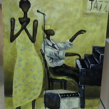 JAZZ OIL PAINTING M. HAROLD - Folk Art