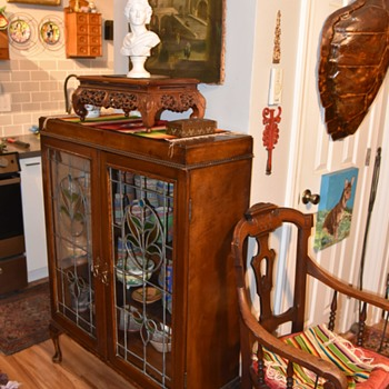 Antique China Cabinet with Stained-glass Doors - Furniture
