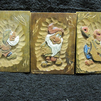 Three of Snow White's Seven Dwarfs in Vintage Wood Carvings from A.B. Stockholm - Advertising