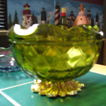 Duette Green Footed RoseBowl - Glassware