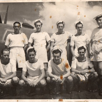 An example of collecting. 1944 British Navy Personnel on HMS Ameer during the last year of war.