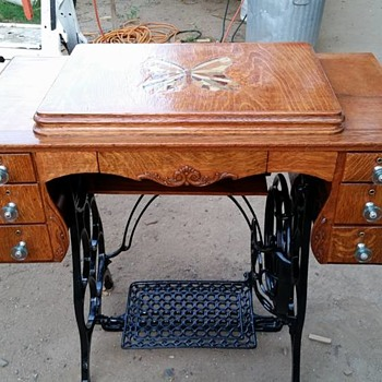 1920's Damascus Treadle Sewing Machine with Custom Wood Inlay - Sewing