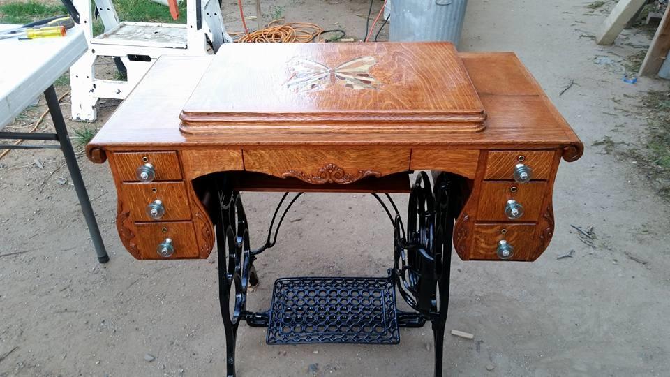 40's Damascus Treadle Sewing Machine With Custom Wood Inlay Gorgeous Damascus Sewing Machine