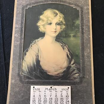 1928 wall Calendar . Union stock yards  - Advertising