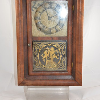 Antique Wood Mantel Clock Glass Cherub Painted Dial Maker Unknown