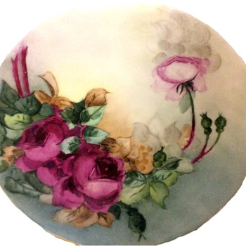 Antique PL Limoges Hand Painted Rose Plate