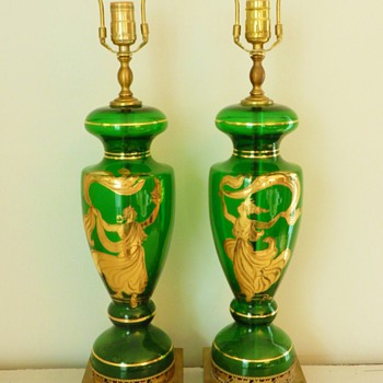 Pair 1940's Green Glass Grecian Lamps - Lamps