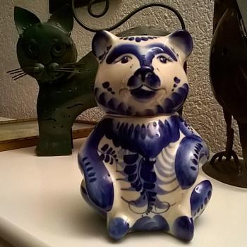Pretty Hand Painted Porcelain Bear - Poland? Spain?  - Pottery