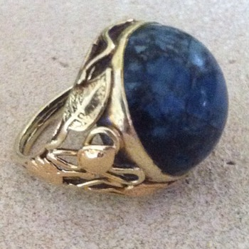 "Arts and crafts 14k ""Swiss lapis"" ring. - Fine Jewelry"