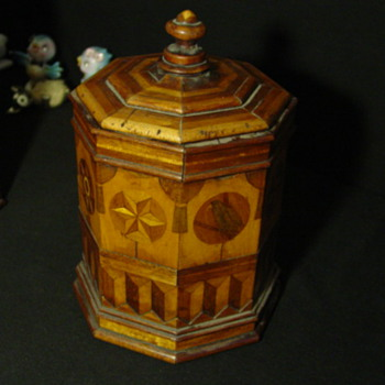 Antique Octogon wooden inlay container with Lid