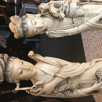 Chinese tall  statues signed, no idea what they're made of? - Asian